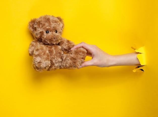 Une main féminine tient un ours en peluche à travers du papier jaune déchiré. concept minimaliste