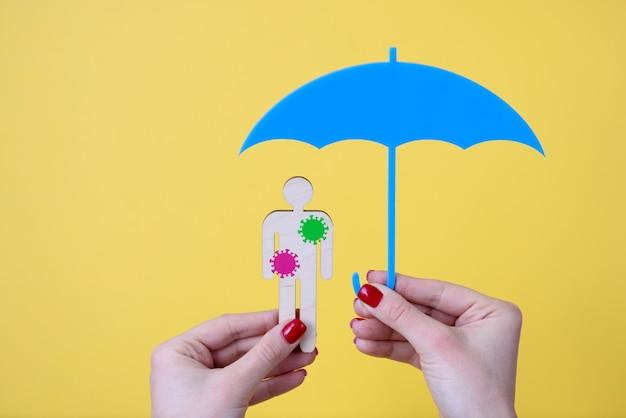 La main féminine tient un parapluie et un homme en bois avec des autocollants de bactéries. assurance médicale pour