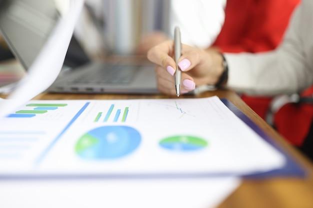 Une main féminine tient un stylo sur des dossiers commerciaux avec des graphiques