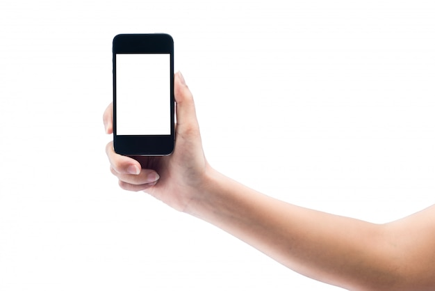 Main de femme isolée sur le gadget d'ordinateur tablette tactile
