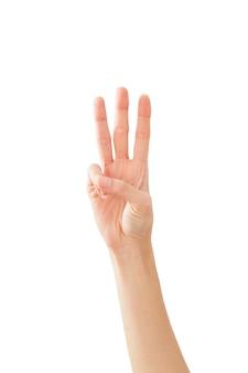 Main de femme montrant la paix trois sur blanc