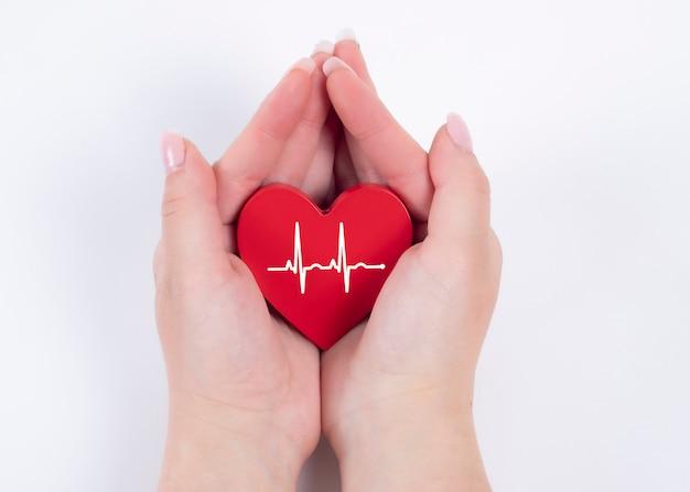 Main de femme tenant coeur rouge, battement de coeur. concept de santé