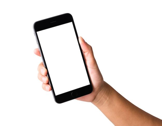 Main de femme tenant un écran blanc blanc smartphone