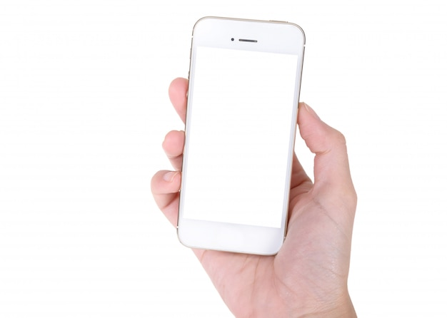 Main de femme tenant un téléphone portable isolé sur blanc
