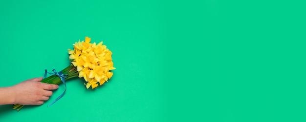 La main d'une femme tient un bouquet de jonquilles jaunes sur fond vert avec copie espace.