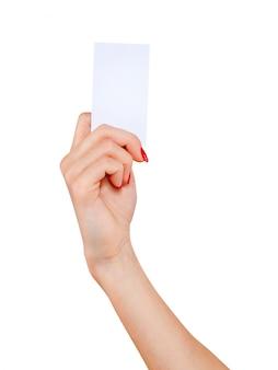 Main de femmes carte montrant la maquette isolé sur fond blanc
