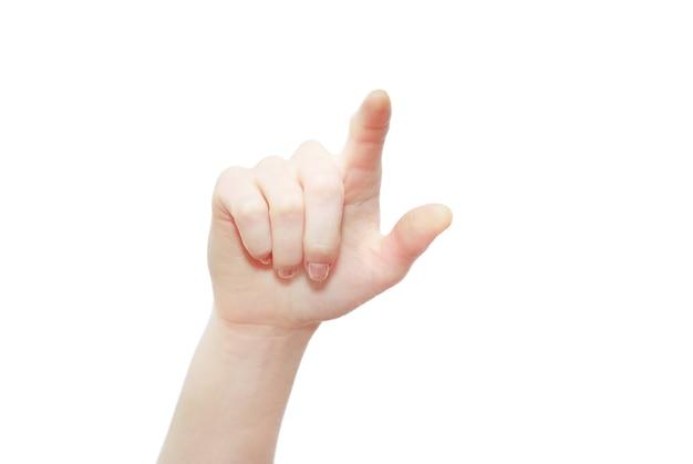 Main sur fond blanc ñ