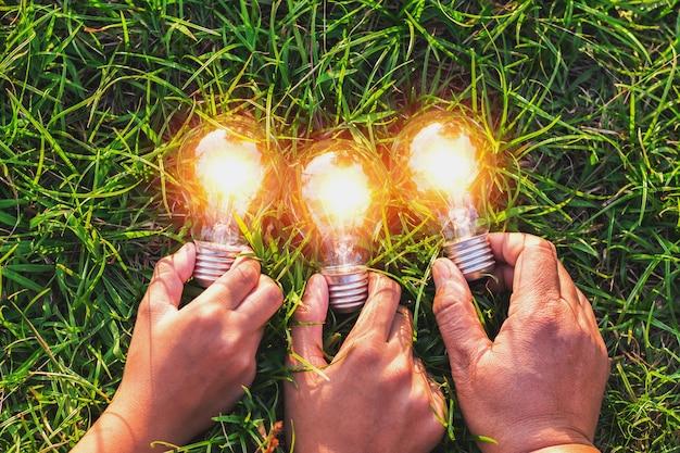 Main de groupe tenant ampoule avec coucher de soleil sur l'herbe. idée concept énergie solaire