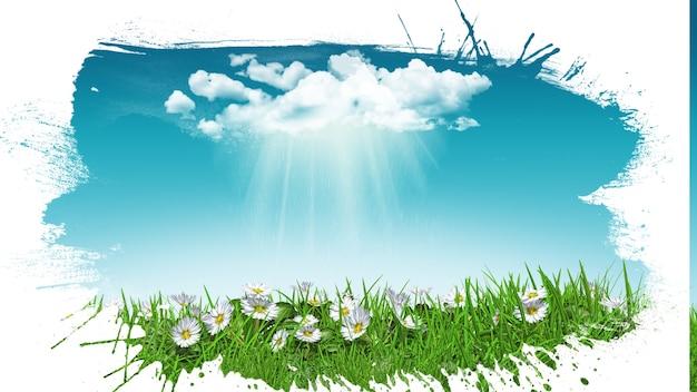 Main herbe dessinée avec des marguerites et ciel lumineux