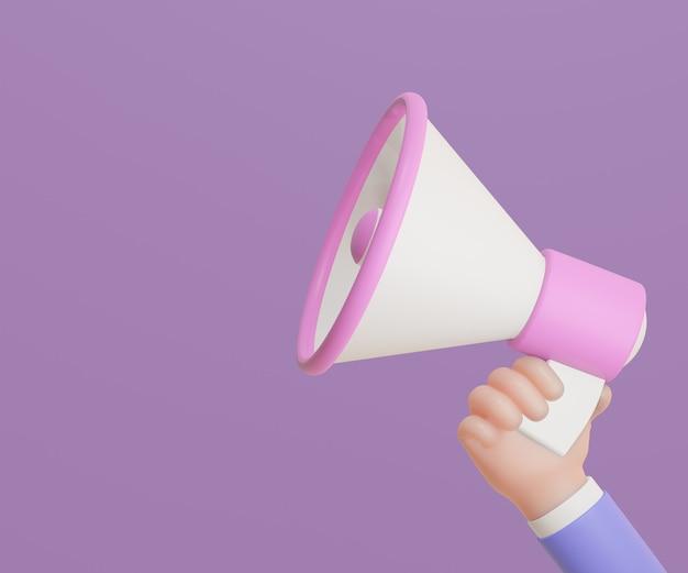 Main d'homme d'affaires de dessin animé tenant le mégaphone sur le fond violet. illustration de rendu 3d