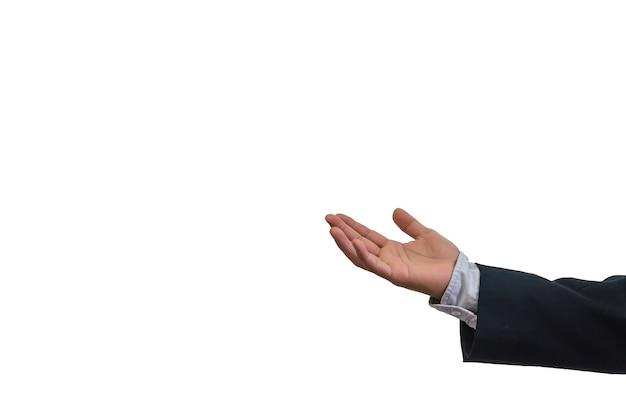 Main d'homme d'affaires sur fond blanc.