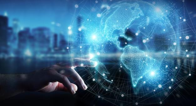Main d'homme d'affaires utilisant l'hologramme de réseau globe usa carte monde