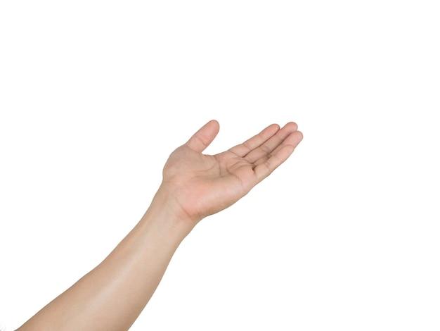 Main d'homme blanc isolé sur fond blanc