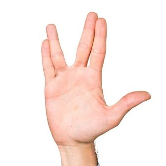 Main de l'homme faisant signe friky