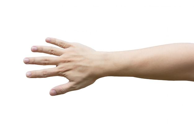 Main d'homme isolé sur blanc avec un tracé de détourage