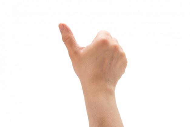 Main de l'homme isolé sur fond blanc. symbole ok.