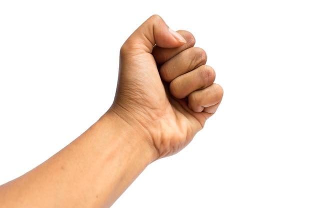 La main de l'homme isolé sur fond blanc