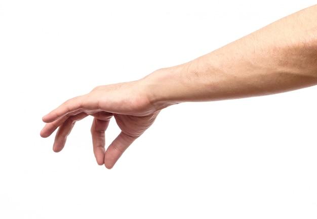 Main de l'homme mesure l'élément invisible isolé