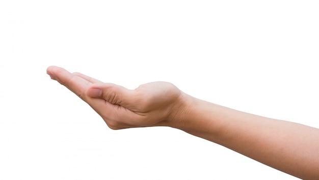 Main d'homme ouverte et prête à aider ou à recevoir. geste isolé sur fond blanc