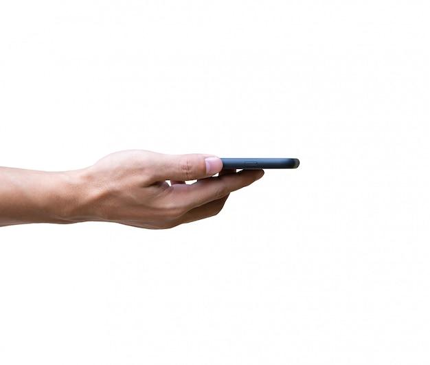 Main d'homme sur smartphone dans un écran horizontal vers le haut isolé sur fond blanc