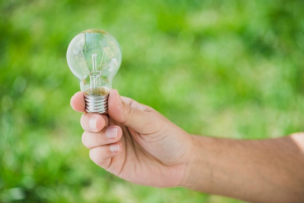 Main de l'homme tenant une ampoule transparente sur fond vert