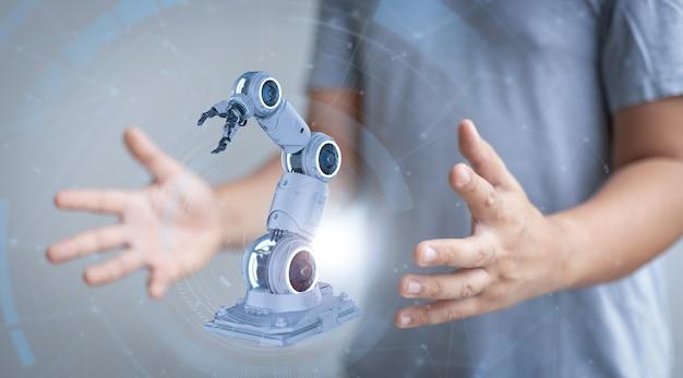 La main humaine présente le bras robotique blanc de rendu 3d