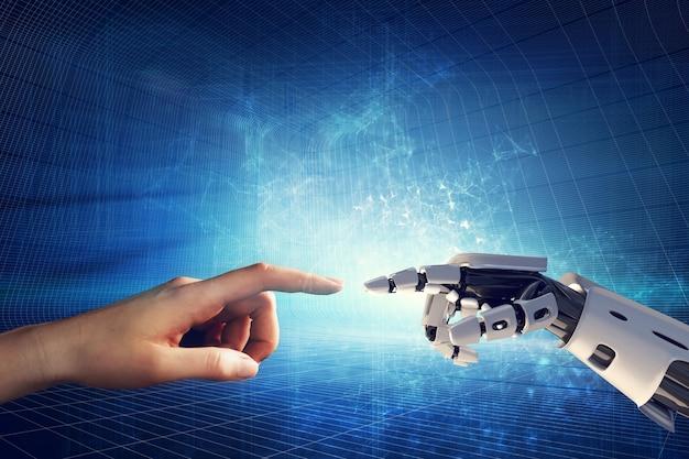 Main humaine et robotique touchant les doigts.