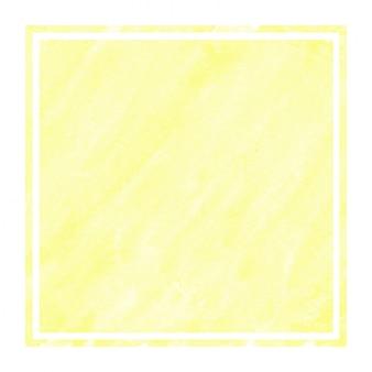 Main jaune chaud dessiné texture d'arrière-plan aquarelle cadre rectangulaire avec des taches