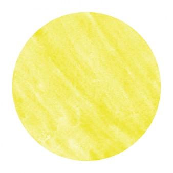 Main jaune dessiné texture d'arrière-plan aquarelle cadre circulaire avec des taches
