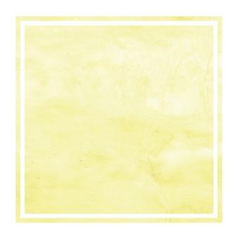 Main jaune dessiné texture d'arrière-plan aquarelle cadre rectangulaire avec des taches