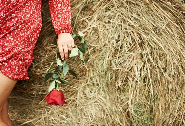 Main d'une jeune fille qui tient une rose dans sa main sur fond de botte de foin