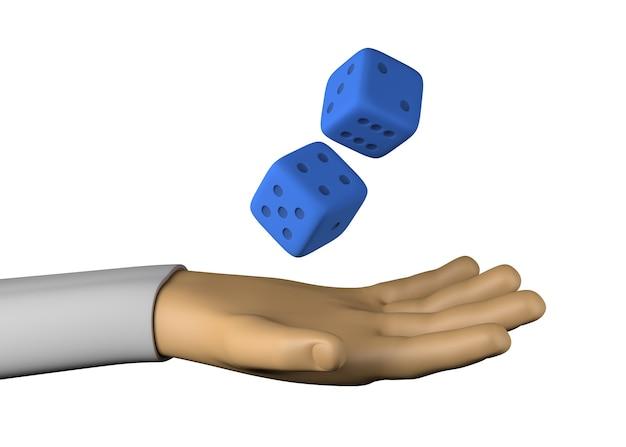 La main avec des dés. jeux d'argent. illustration 3d.