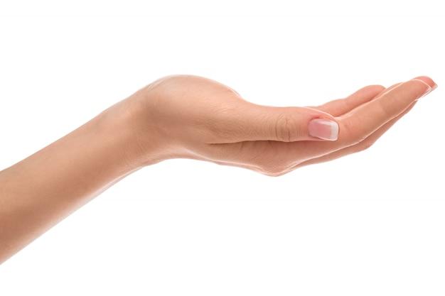 Main avec manucure française