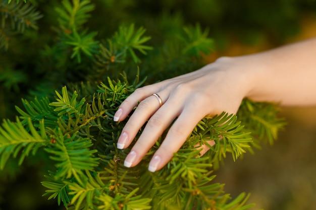 Main, mariée, anneau, doigt