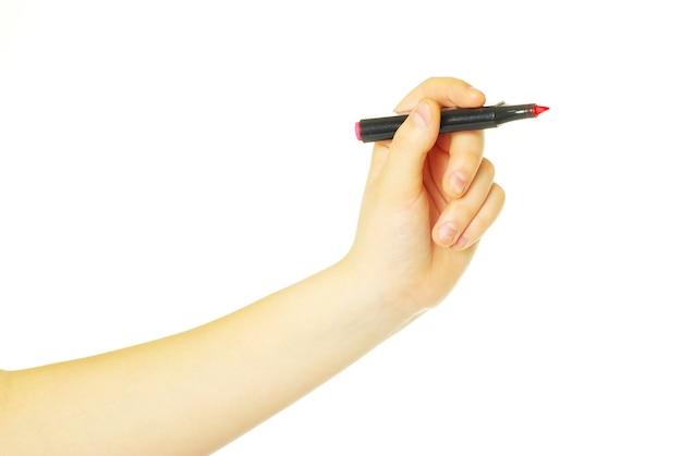 Main avec marqueur isolé