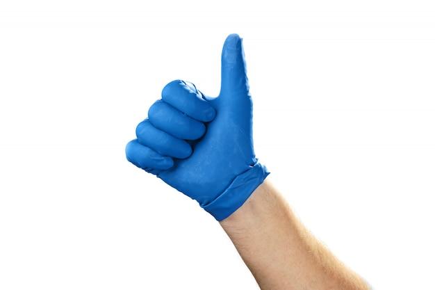 Main masculine au gant sur fond blanc, une bonne idée.