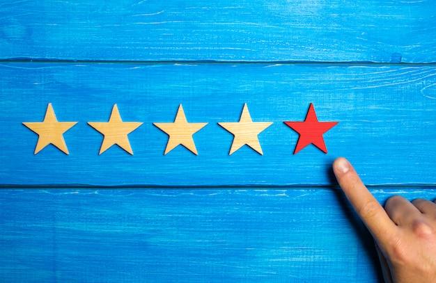 La main masculine pointe la cinquième étoile rouge sur un fond en bois bleu.