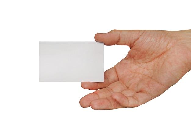 Main masculine tenant la carte de visite. carte de visite blanche en main masculine isolée sur fond blanc.
