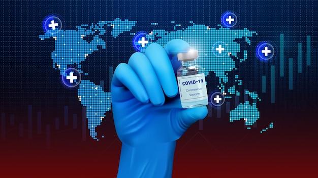 La main des médecins dans des gants bleus tient le flacon avec un vaccin ou un médicament sur fond bleu