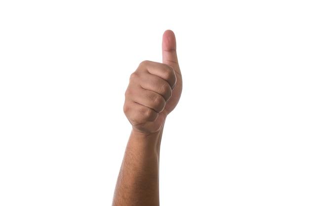 Main montrant le pouce vers le haut signe sur fond blanc. concept de partie de corps d'accord ou d'approbation