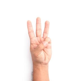 Main montrant le symbole de trois doigts isolé