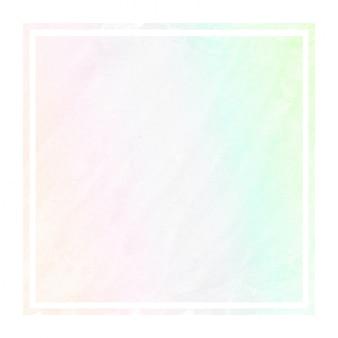 Main multicolore dessiné texture d'arrière-plan aquarelle cadre rectangulaire avec des taches
