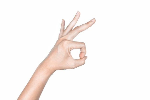 Main ok signes sur fond blanc isolé