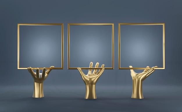 Main d'or abstraite avec cadre blanc