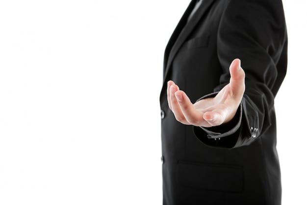 Main ouverte de l'homme d'affaires