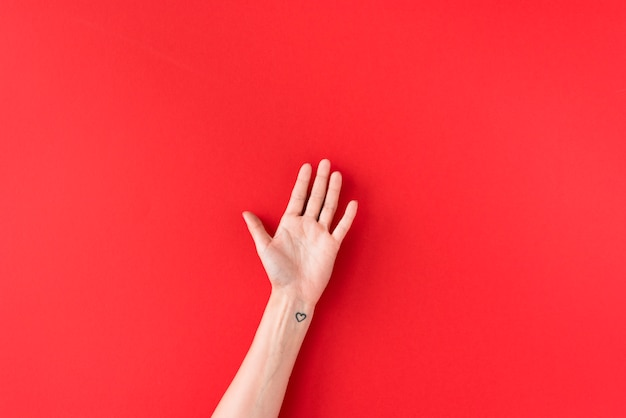 Main de la personne avec le symbole du coeur