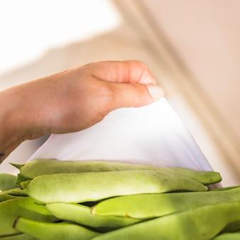 Une main de personne tenant des haricots jacinthes en serviette blanche