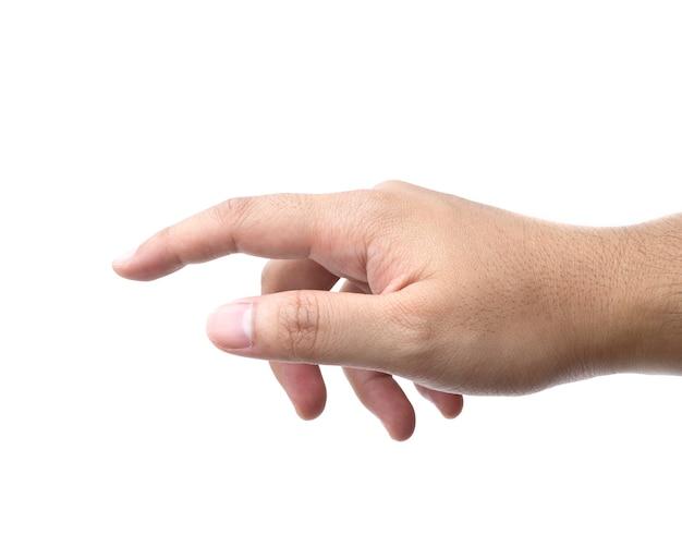 Main pointant vers le haut avec l'index ou toucher isolé sur un espace blanc