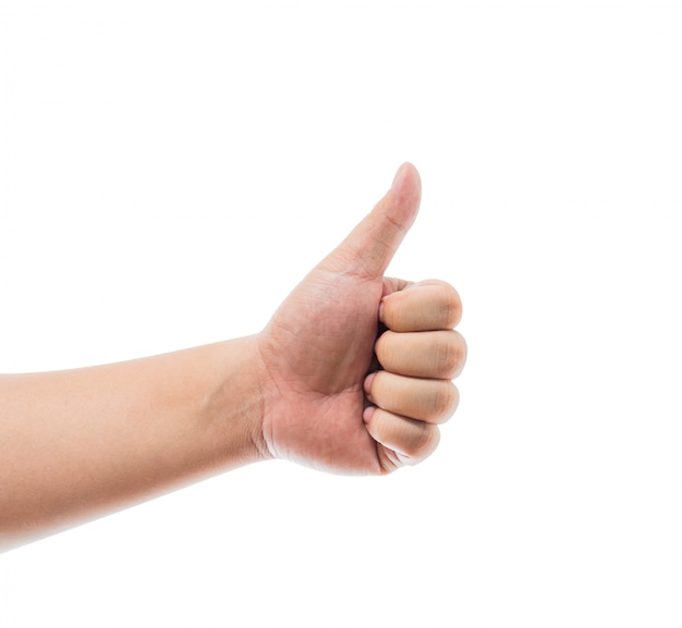 Main avec le pouce en haut isolé sur fond blanc. signe ok