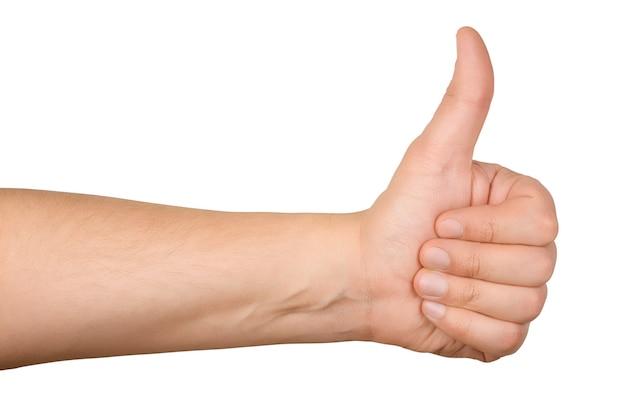 Main avec le pouce vers le haut isolé sur blanc